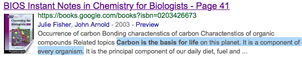 Carbon is the basis for life on earth